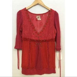 Free People Crochet Style BOHO Top